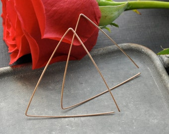 Rose Gold Triangle Hoop Earrings, Large Triangular Hoop, Modern Geometrical Earrings, Futuristic Geometric Earrings