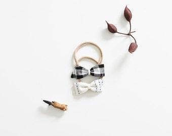 Baby Headband Set - Black Gingham Bow Headband and Linen Bow Headband - Newborn Headbands - Gift for Baby