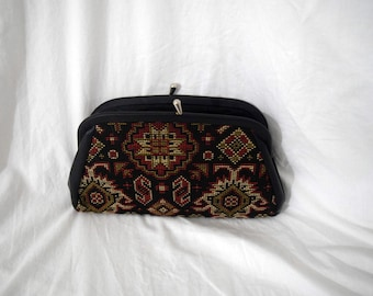 Victorian Fantasy - Quilted Pattern Black Snap Clutch with Small Chain Strap and Black Leather Detail