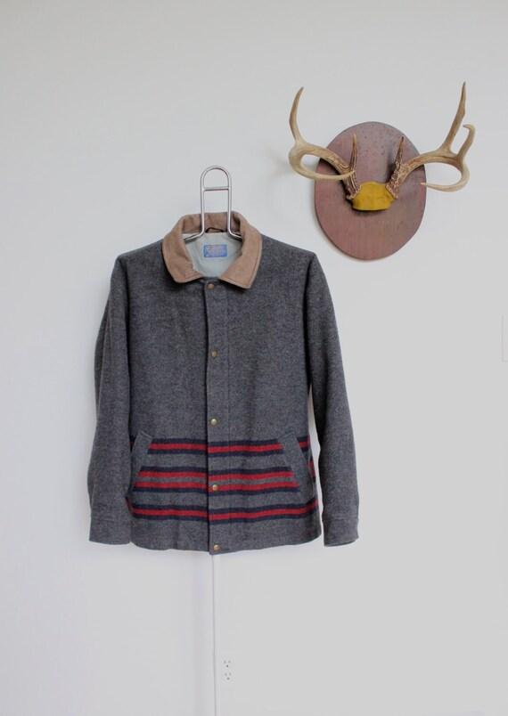 Vintage Pendleton Jacket Wool Blanket Coat Gray Grey