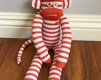Peppermint stripe sock monkey plush - red and white striped with rhinestone heart - candy cane