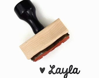 Rubber Stamp Custom Mini Cursive Name (up to 12 letters) - Heart Cursive Personalized Customized Gift