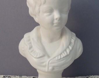 "Boy Statue / 9"" Napco Statue / Napco White Ceramic Statue / Napco Bust of Boy / Boy Statue / White Bust of Boy / French Boy Bust"
