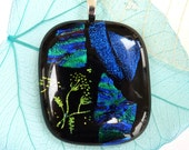 Fused glass pendant ~ dichroic necklace blue green melted glass jewellery handmade jewelry gift for her birthday Valentines gift Anniversary