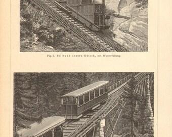 1894 Vintage Print of Mountain Railways
