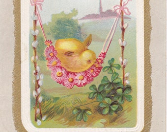 Glad Easter Greetings- 1900s Antique Postcard- Edwardian Easter Chick- Spring Decor- Flower Hammock- Pussy Willows- Paper Ephemera- Used
