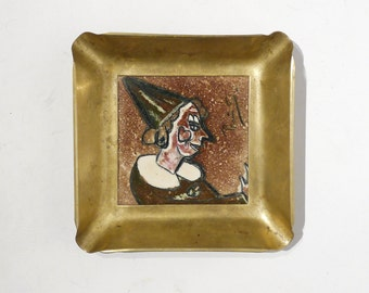 Warner Prins Brass Framed Ceramic Tile - German Expressionist Style