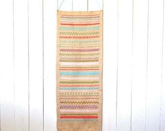 Burlap Wall Hanging 1970s Vintage Large Long Embroidered Fringe Fiber Wall Art Hippie Boho