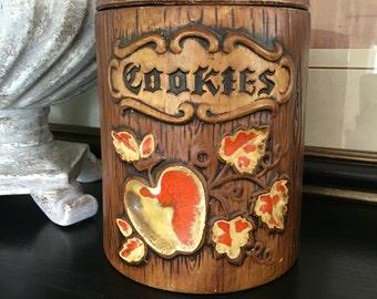 Treasure Craft Cookie Jar Vintage Barrel Brown Faux Bois Wood Look ~ #B1114