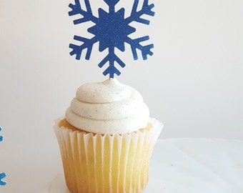 Snowflake Cupcake Toppers {Dozen} Glitter, Frozen Party Decoration, Birthday Party Decor, Baby Shower Theme 18 COLORS Winter Wonderland