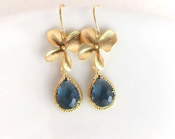Gold Sapphire Blue and Orchids Earrings, Navy Blue Earrings,Bridesmaid Earrings, Bridal Jewelry,Bridesmaid Gift,Dark Blue,Wedding Earrings
