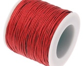 Waxed Cord : 10 yards (30 feet) Red 1mm Waxed Cotton Cord String / Bracelet Cord / Macrame Cord / Chinese Knotting Cord / Shamballa 81049