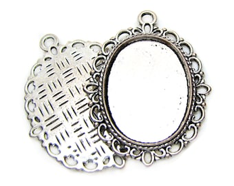 Bezels | Cabochon Settings : 10 Antique Silver Oval Lace Pendant Setting Holds 18.5x25.5mm Cabochon -- Lead, Nickel & Cadmium Free 15259.H3G