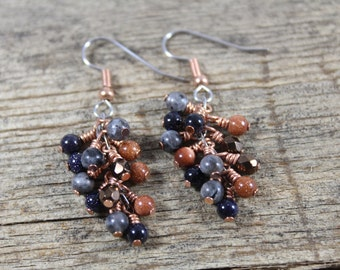 Copper, Goldstone, Blue Labradorite Cluster Dangle Earrings / Copper Earrings / Gifts for Her / Gifts for Women / Dangle Earrings