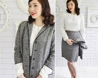 Vintage Black and White Skirt Suit with Black Trim and Button Jacket by Butte Knit Size XS or Small