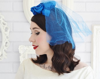 Vintage Royal Blue Rosette Hair Piece with Attached Veil