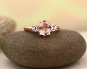 Morganite white sapphire  Solid 14K Rose Gold  engagement Ring Gem759