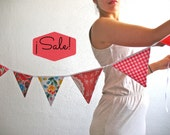 Oilcloth bunting pretty in red for weddings, nursery, party or decoration
