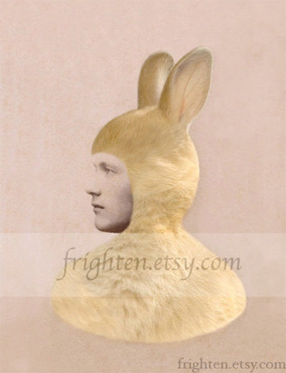 Weird Easter Art Anthropomorphic Bunny Rabbit Unusual Portrait Mixed Media Collage Print