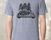 Men's T-Shirt - Vinyl Record Turntable Forest - American Apparel TriBlend T-Shirt - Men's Small Through 2XL Available