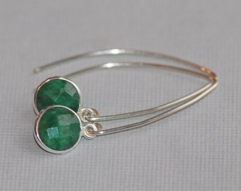 GENUINE Raw Emerald Drop Earrings,Sterling Silver Bezel Gemstone Dangle,Long,Minimalist,Minimal,Modern Emerald Drop,Birthstone,Almond