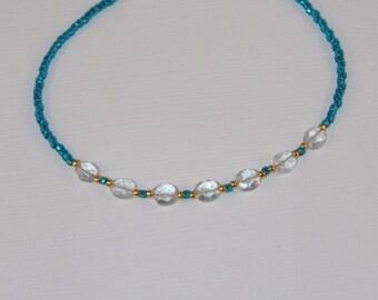 7 Inch Minimalist Bracelet - Green Quartz - Gemstone Layering Bracelet - Stackable Bracelet - Teal Blue - Trendy Boho - Tiny Bead Bracelet