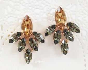 Black Crystal Earrings - Swarovski Crystal Black Diamond Light Colorado Topaz Cluster Statement Rose Gold Earrings