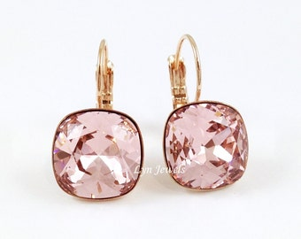 Rose Gold Blush Pink Earrings - Swarovski Crystal Cushion Cut Vintage Rose Leverback Earrings - Wedding, Bridesmaids Jewelry