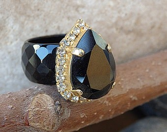 Women's Black Statement Ring with Black Agate Ring with Swarovski Crystals, Teardrop Ring, Big Black Ring, Black Stone Ring, Big Stone Ring