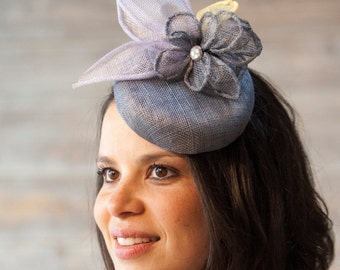 Grey sinamay button hat with flower