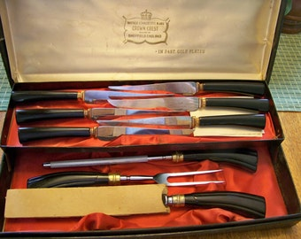 Vintage Sheffield Stainless Steel Cutlery Crown Crest 24Kt Gold Plated