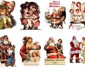 """Large Stickers (each sticker 2.5""""x3.5"""", pack 8 stickers) Scrapbooking Craft Vintage # Santa and Children FLONZ 309"""