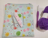 Medium Happy Knitting and Crocheting Friends Craft Storage Pouch S74
