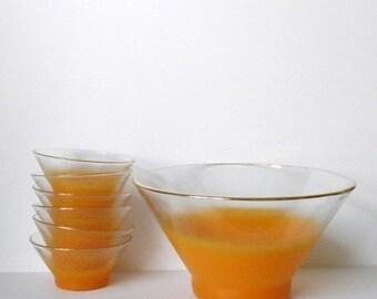 ON SALE Vintage Orange Blendo Bowls, Set of Blendo Bowls, Tangerine Bowls