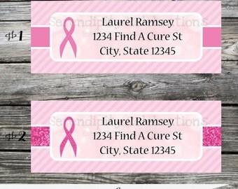 Breast Cancer Return Address Labels -Sticker -Mailing Label -Deliver to-Address Sticker-Stationery, Pink Ribbon, Cancer Label, Awareness