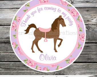 Favor Tags, Shabby Chic Horse, Roses, Thank You Tag, Gift Tag, Baby Shower, Birthday, Sticker, Pony, Set of 12, Personalized, purple