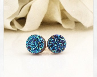 Druzy Studs, Sapphire Blue Druzy Earrings, Druzy Jewelry, Drusy Post Earrings, Bridesmaids Gift for her, best friend gifts, birthday gift