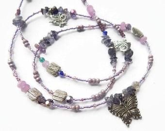Waist Beads, Butterfly Tanzanite Positive Blessings Waistbeads