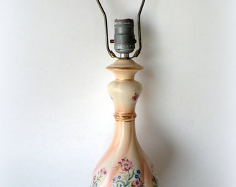 Vintage Floral Lamp- Pink Gold- Hand Painted- Bedroom- Relaxing and Comfort