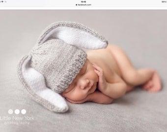 Newborn photo prop, bunny newborn/ baby hat, photography props, newborn boy, newborn girl, newborn hat, knits hat, newborn props, baby hat