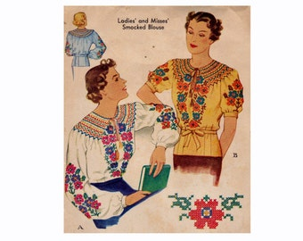 1930s Smocked Blouse Vintage Sewing Pattern Size Large Bust 36-38 Peasant Blouse Smocking 30s McCall 402