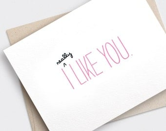 I Like You Card - Funny Valentine Card, Anniversary Card, Recycled Card, Cute Valentine Card