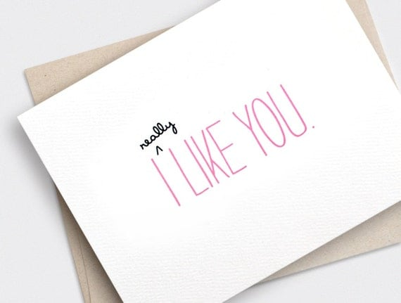 Cute Anniversary Card - I Like You Card - Funny Valentine Card, Recycled Card