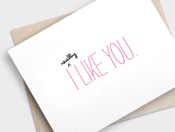 Cute Valentine Card - I Like You Card - Funny Valentine Card, Anniversary Card, Recycled Card