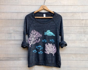 just passing thru Sea Life Shirt, Yoga Pullover, Sea Turtle, Fish Shirt, S,M,L,XL