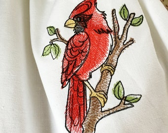 Red bird on branch embroidered cotton hemstitched towel cardinal