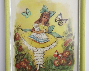 Vintage Yellow Framed Illustration . Girl With Cat And Butterflies M. Hartnett