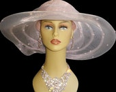 Vintage 1980s Hat//80s Hat//Pink//Da-Me //Made in Italy//large Brim Hat//