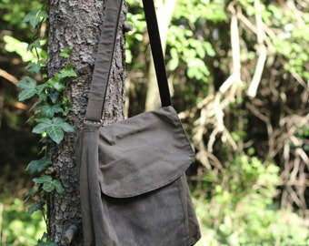 Handmade in the USA waxed cotton & canvas contrast laptop tote purse bag satchel