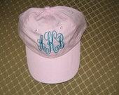 Toddler Girls Monogrammed Baseball Cap Connecting Monogram Baseball Hat Custom Embroidered Monogram